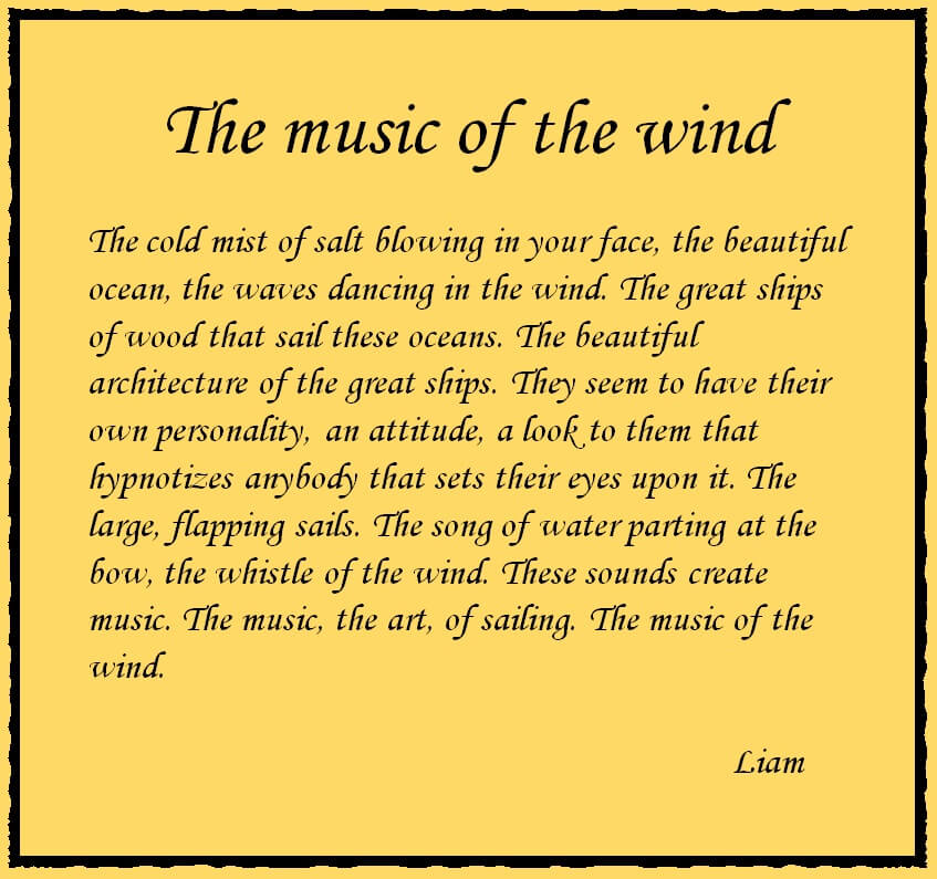 Tall ships, Magic of the wind, poem