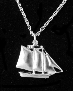 Maine Windjammer Cruises - Sterling Silver pendant Grace Bailey
