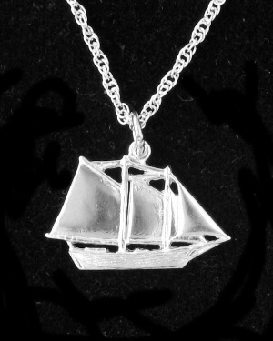 Maine Windjammer Cruises - Sterling Silver pendant Mercantile