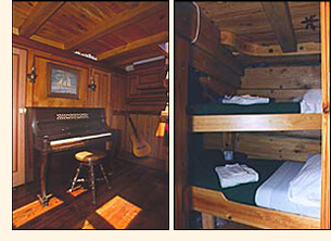 The Grace Bailey has a music room complete with piano. Some cabins have two single bunks.