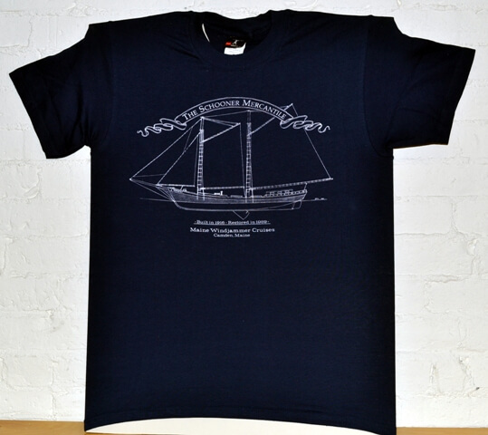 Maine Windjammer Cruises - Navy etched t-shirt