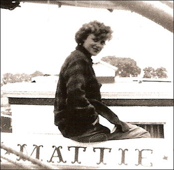 Mattie on the Grace Bailey 1946