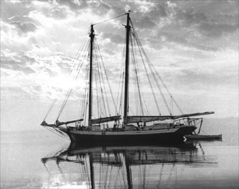 Schooner Mattie/Grace Bailey at Anchor 1958