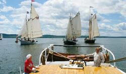 Schooner Grace Bailey in the lead