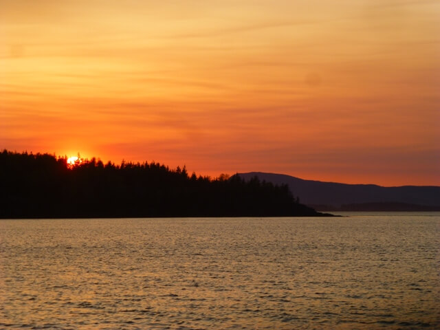 Maine Windjammer Cruises Camden hills sunset