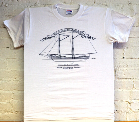 Maine Windjammer Cruises - white etched t-shirt