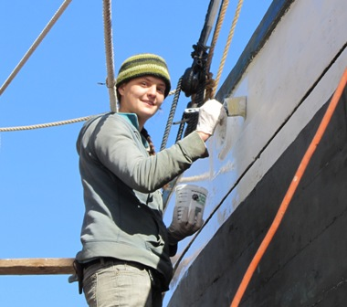 Becky wright painting the Schooner Mercantile