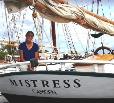 Captain Becky in Camden Harbor on the Schooner Mistress