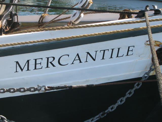 Schooner Mercantile bow view with name