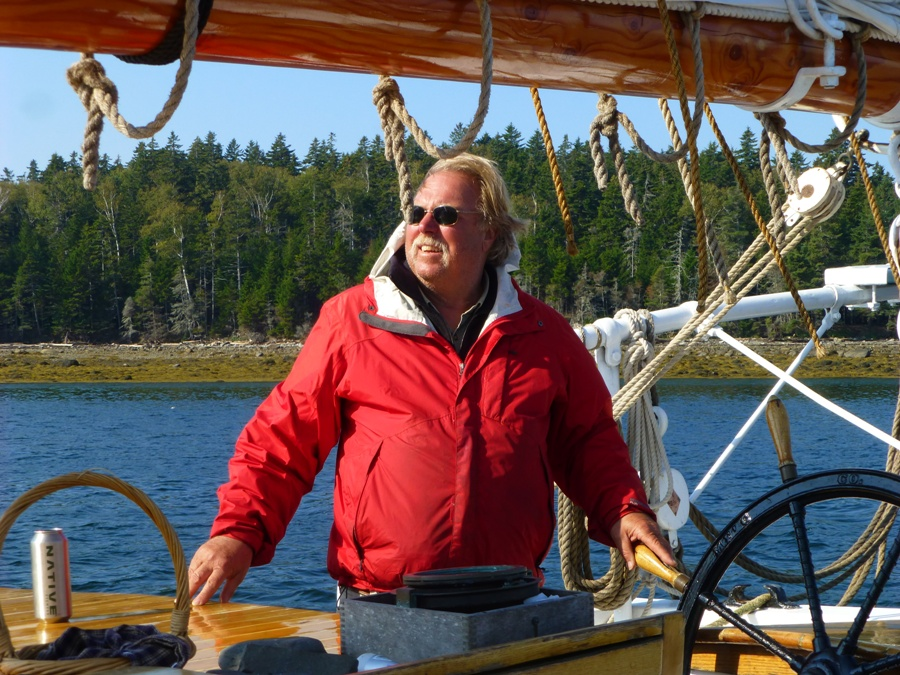 Capt Ray at the Helm of Schooner Grace Bailey